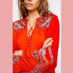 NEW Free People Hearts Aflame Velvet Top